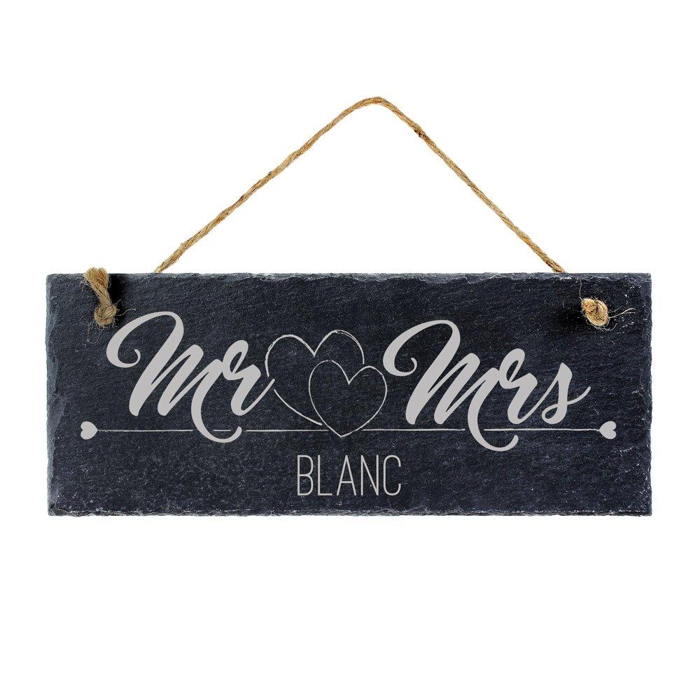 Ardoise avec gravure pour couples - Mr & Mrs - Plaque de porte à accrocher - Idéale comme cadeau pour couple pour le mariage, l'anniversaire de mariage, l'aménagement ou Noel l'anniversaire de mariage l'aménagement ou Noel