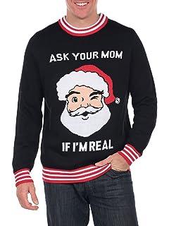 Tipsy Elves Mens Santa Present Christmas Sweater Navy Big Package