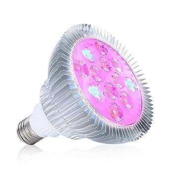 PryEU 12 W Bombilla LED Cultivo para Plantas Interior, casquillo E27, 12 Leds 3
