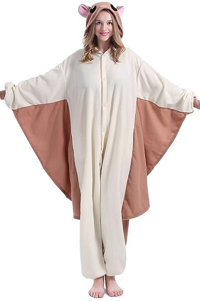 brlmall Unisex adulto pijama – peluche ardilla voladora de una pieza cosplay disfraz de animal