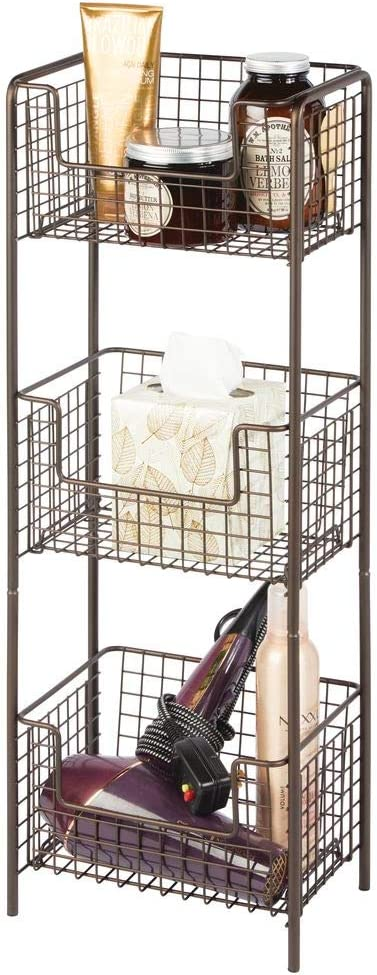 mDesign 3 Tier Vertical Standing Bathroom Shelving Unit, Decorative Metal Storage Organizer Tower Rack with 3 Basket Bins to Hold and Organize Bath Towels, Hand Soap, Toiletries - Bronze: Kitchen & Dining