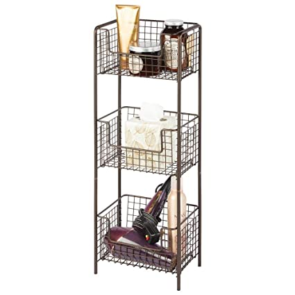 Mdesign 3 Tier Vertical Standing Bathroom Shelving Unit Decorative Metal Storage Organizer Tower Rack With 3 Basket Bins To Hold And Organize Bath
