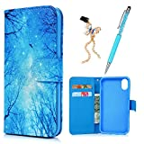 iPhone X Case Wallet, Blue Dreamy Pattern Premium PU Leather Wallet Case with Kickstand Card Holders Soft TPU Inner Shell Magnetic Flip Colorful Painting Cover & Dust Plug & Stylus by KASOS - Wood