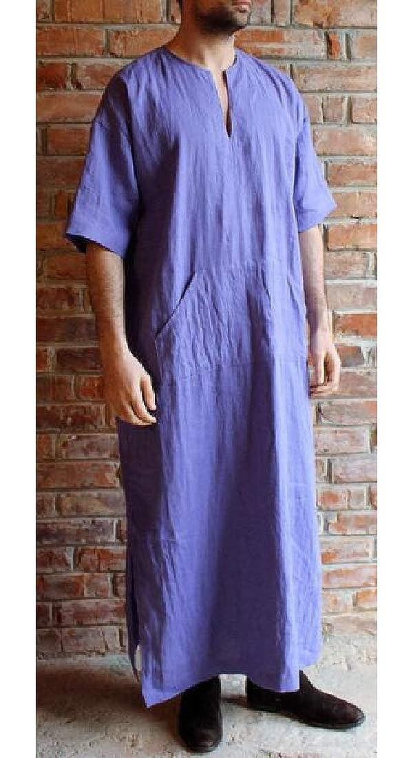 Jofemuho Men Loose V-Neck Plus Size Linen Short Sleeve Robe Kaftan Long Gown Thobe