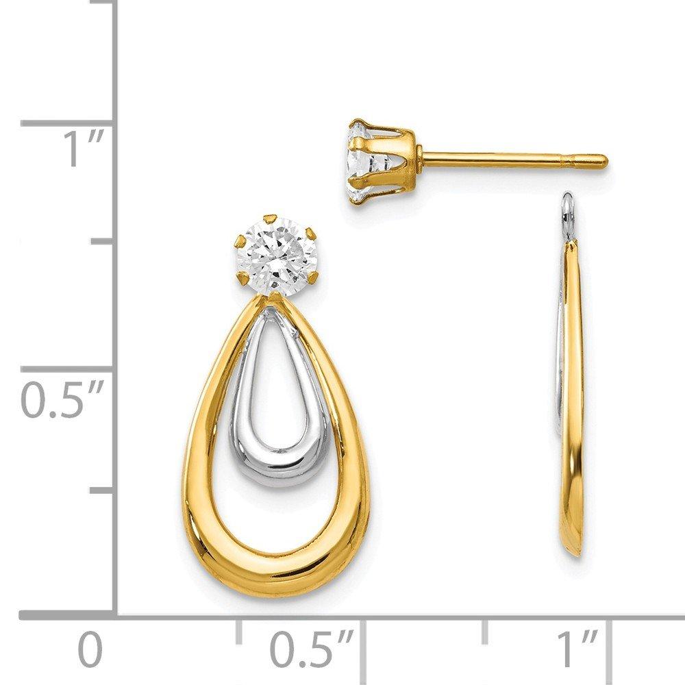 14k Two-tone Two Tone Polished w//CZ Stud Earring Jackets