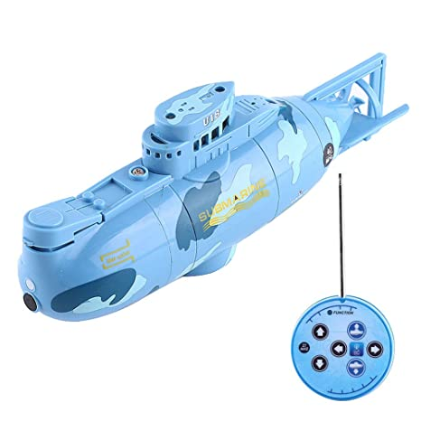 be77a14f927f2 VGEBY RC Toy Submarine Model Diving Boat Remote Control Rechargeable Toy (  Color : Blue )