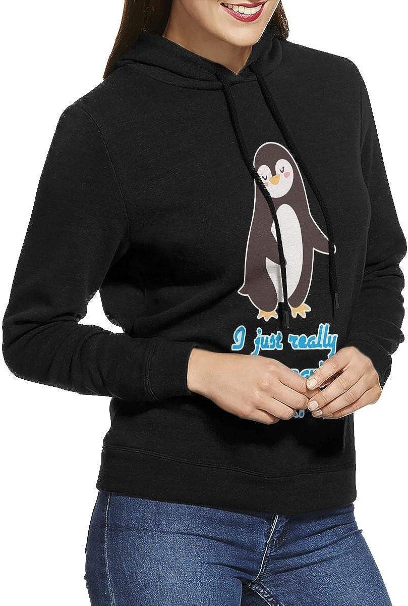 NVWEIYIJW I Just Really Like Penguins Ok Pullover Hoodie Ladies Long Sleeve Tops Hooded Sweatshirts