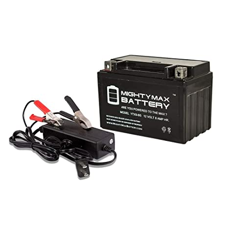 Mighty Max Battery Ytx9 Bs Replaces Everstart Es9bs Powersport 12v 2amp Charger Brand Product