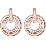White Crystals from Swarovski Round Circle Stud Earrings 18 ct Rose Gold Plated for Women