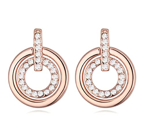 91a0195fe Crystalline Azuria Women 18 ct Rose Gold Plated Round White Crystals from  Swarovski Circle Stud Earrings: Amazon.co.uk: Jewellery