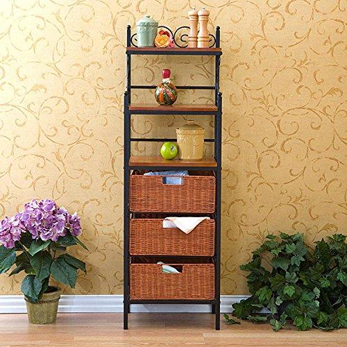 Harper Blvd Black Storage Shelves with Rattan Baskets by Harper Blvd