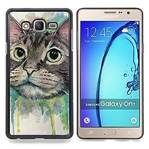 "Qstar Arte & diseño plástico duro Fundas Cover Cubre Hard Case Cover para Samsung Galaxy On7 O7 (Pintura del gato feliz"")"