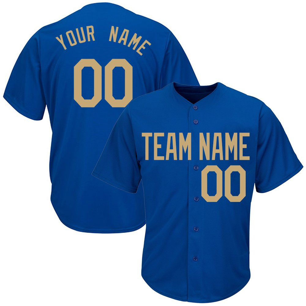 Custom Women's Royal Blue Full Button Baseball Jersey with Embroidered Team Name Player Name and Numbers,Gold Size 2XL by DEHUI