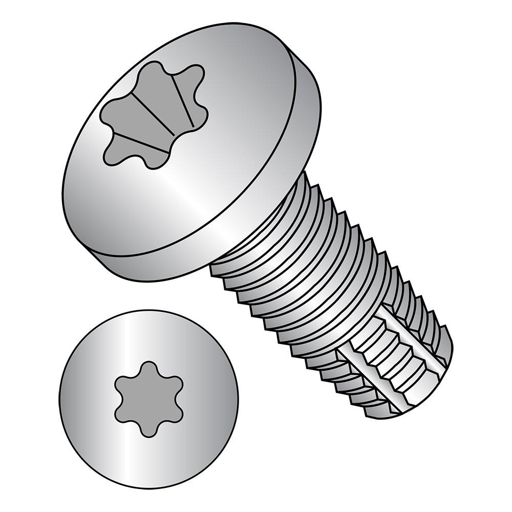 Type F 18-8 Stainless Steel Thread Cutting Screw 3//8 Length Pan Head #6-32 Thread Size Star Drive Pack of 50 Plain Finish
