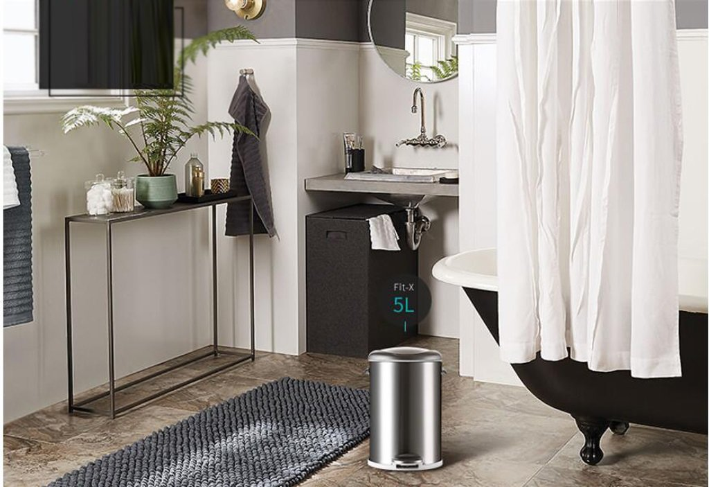 Stainless Steel Foot Trash Cans Household Kitchen Trash Toilet Office Cover Mute 5L ( Color : Sand steel ) by LITINGMEI Refuse Bin (Image #3)