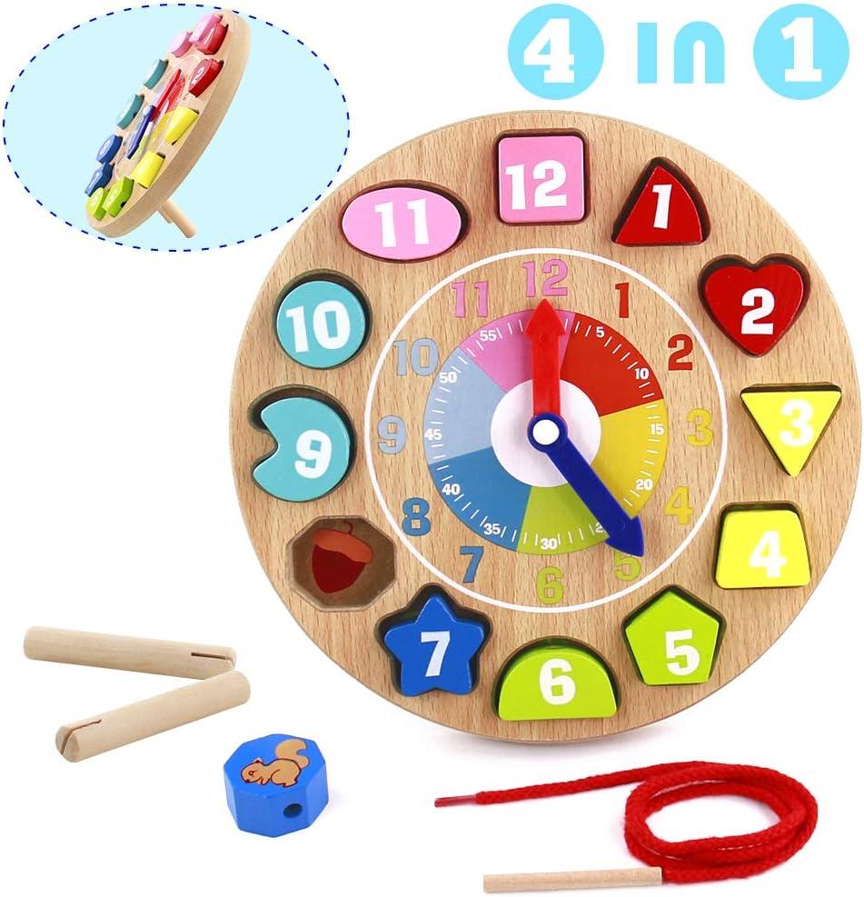 Juguetes de Reloj Madera Niños 4 IN 1 Juguetes Montessori Educativo Rompecabezas Tablero Juegos Educativos Niños 3 4 5 Años