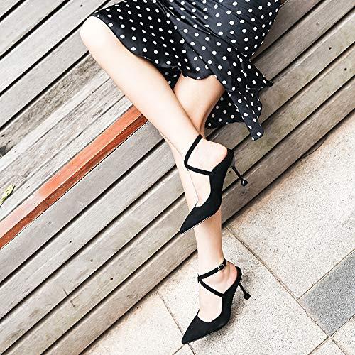 sandals drill out Thirty Joker high heel fine water five LBTSQ pointed heel high fashion hollowed shoes heeled 4xRw4Uq