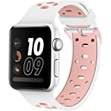 Compatible Apple Watch Band 40mm 38mm, Alritz Silicone Sport Strap Replacement for Apple Watch Series 4/Series 3/Series 2/Series 1/Nike+, White Pink