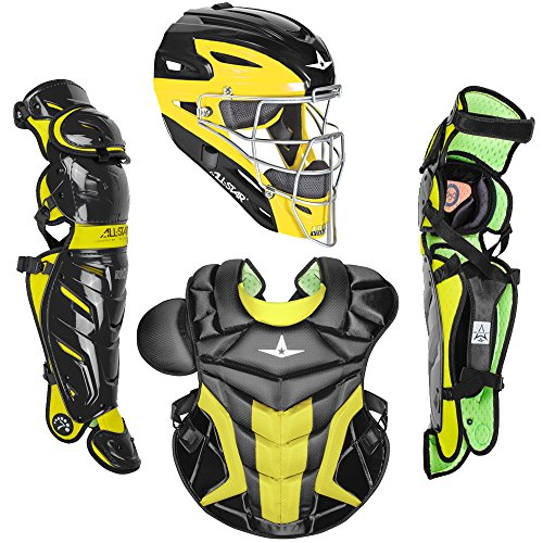 All-Star Adult System7 Axis Pro Two Tone Catcher's Set (Black/Gold) - Pro Gold Chest Protector