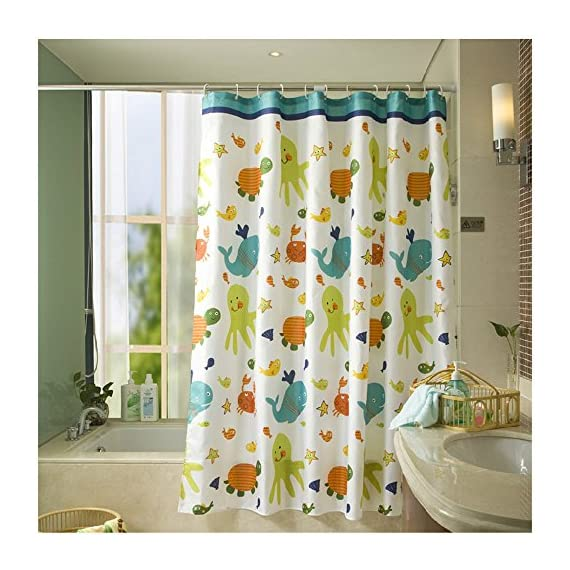 Sfoothome Animals Tortoise and Fish Printed Pattern,Mildew Proof and Water Proof Polyester Fabric Shower Curtain for Bathroom (72 Inch by 72 Inch) - 100% durable polyester shower curtain has weights at the bottom of it Machine wash cold, iron low temperature - shower-curtains, bathroom-linens, bathroom - 61FyFNUiNnL. SS570  -