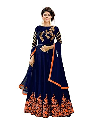 68ddc7bb9d Aaru Fashion Anarkali Suits for Women Faux Georgette Semi Stitched  Embroidery Salwar Suit Material (orange