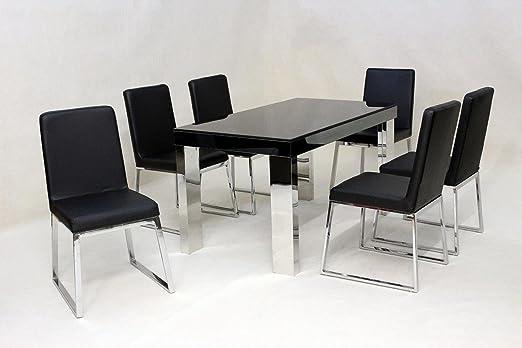 HGG - juego de comedor 6 sillas negro juego de parte superior ...