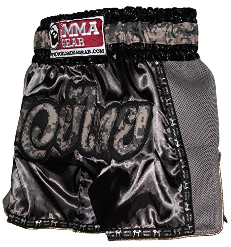 Retro Muay Thai shorts Camo Camouflage Kickboxing Thai boxing trunks by World MMA Gear (4XL (38
