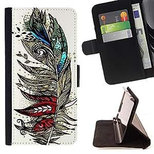 King Art - Premium-PU-Leder-Prima caja de la PU billetera de cuero con ranuras para tarjetas, efectivo Compartimiento desmontable y correa para la mu?eca FOR Sony Xperia Z2 L50t L50W L50U- Aztec Vintage Feather