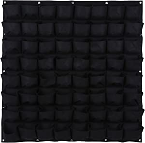 Ogrmar 64 Pockets Vertical Wall Garden Planter Plant Grow Bag for Flower Vegetable for Indoor/Outdoor (64 Pockets, Black)