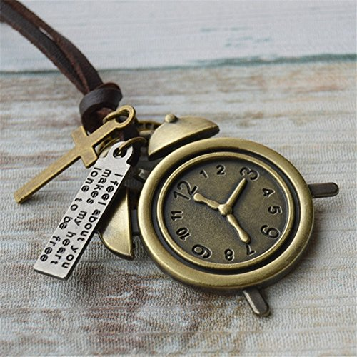Generic Literary retro copper pendant leather rope necklace simple summer paragraph women girls lady sweater chain animal trinkets to take short sleeve pendant by Generic