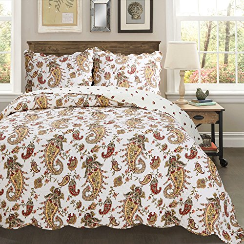 Cozy Line Home Fashions NEW Arrival ! Baroque Paisley 3-piece Burgundy Red Gold White Vintage Printed Cotton Quilt Bedding Set Reversible Coverlet Bedspread Gifts for Women (Baroque, King - 3 (Baroque Comforter Set)