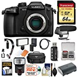 Panasonic Lumix DC-GH5 Wi-Fi 4K Digital Camera Body with 64GB Card + Case + Flash + Battery + Mic + Video Light + Stabilizer + Kit