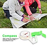 Vbestlife Mini Thumb Compass with Map Scale,Outdoor Camping Hiking Lightweight Acrylic Map Ruler Mapping Compass Tool