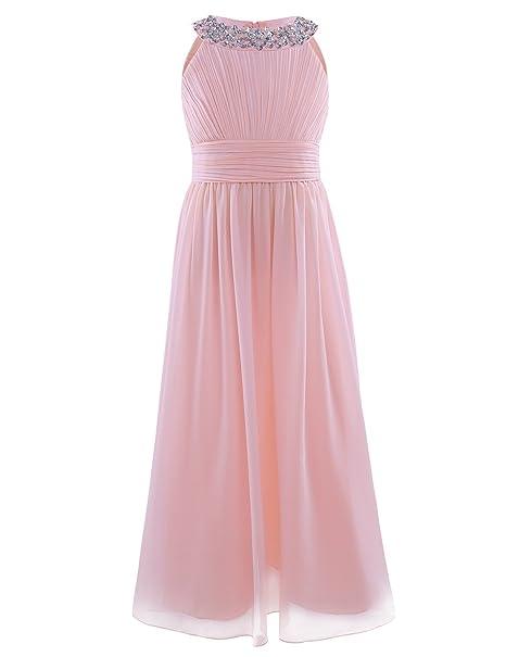 Freebily Vestido de Fiesta Boda Bautizo Graduación para Niña Chica Vestido Plisado Dama de Honor Rosa