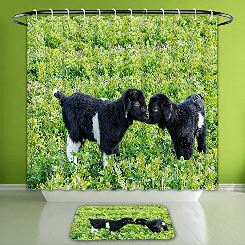 (Waterproof Shower Curtain and Bath Rug Set Animal Baby Sheep with Nature Hills Garden Flowers Lavenders Grass Image Apple Green Fern Green Bath Curtain and Doormat Suit for Bathroom 60