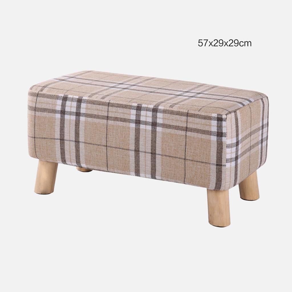 B paragraph - mig HETAO Fashion Solid Wood Small Stool shoes shoes Sofa Stool Low Bench Bench Household Long Bench, a Paragraph - Multicolor Triangular Cloth