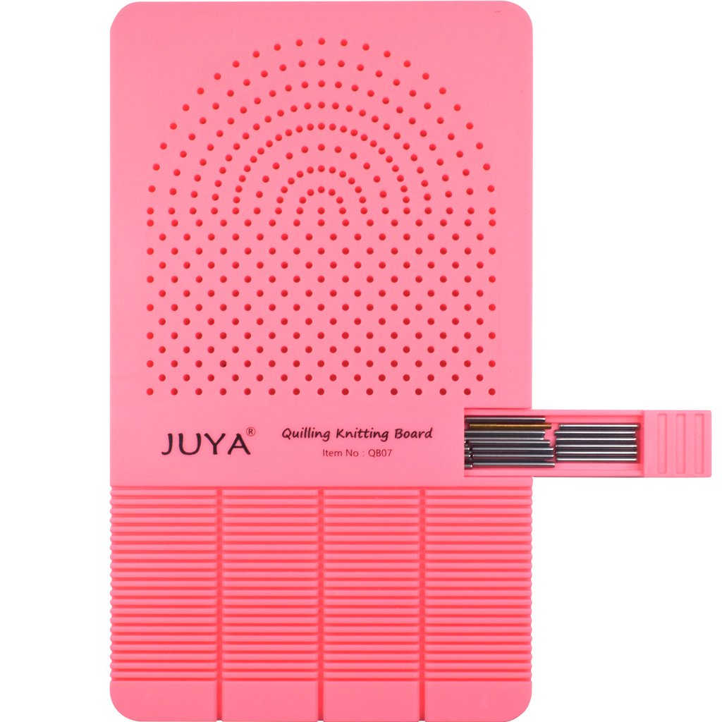 Juya Quilling Knitting Board with 2 Functions have Sticks Storage (Pink) Juya Crafts