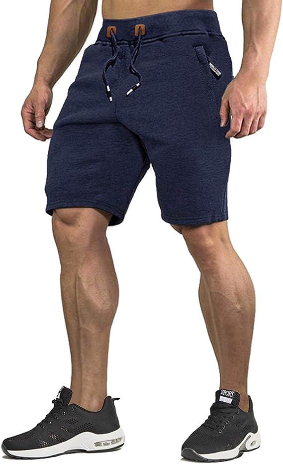 KEFITEVD – Pantalones cortos de hombre con bolsillos de cremallera, de algodón, para entrenamiento, ocio, corto y verano: Amazon.es: Ropa y accesorios
