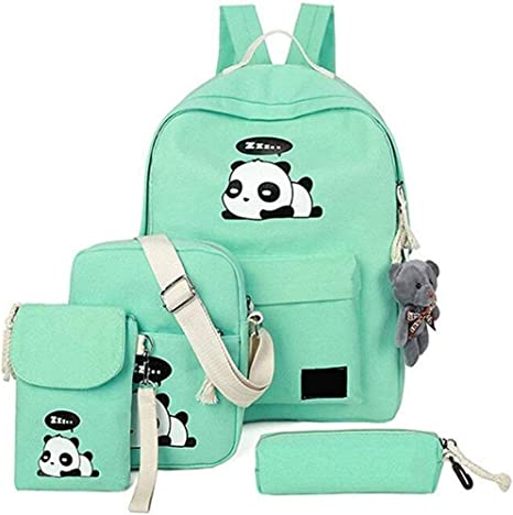 Huaaag 5 Panda Schoolbag Cute Canvas School Backpack+