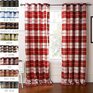 H&N Jones Collection Premium Country Classic Check Plaid Cotton Lined Grommet Top Curtains Drapes ( 1 Panel, Red, 50 W Inch x 84 L Inch)