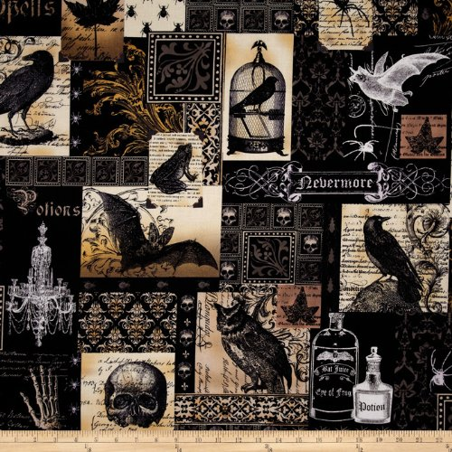 Michael Miller Nevermore Collection Nevermore Collage Urban Grit Fabric by The Yard, Black