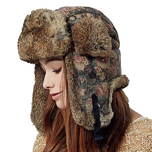 Kenmont Winter Outdoor Women Lady 100% Rabbit Fur Bomber Aviator Hat Ski Cap