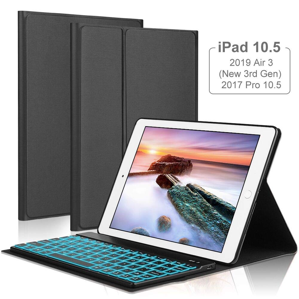 iPad Keyboard Case for iPad Air 2019( 3rd Gen)10.5'' /iPad Pro 10.5 2017,OYOSUOGG 7 Color Backlit Wireless Bluetooth Keyboard Case Folio Protective Slim Stand Cover with Auto Sleep/Wake Function -Black