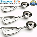SuperEze Ice Cream Scoop & Cookie Dough 3 Piece Stainless Steel Set - Best for scooping muffins, cookies, rice balls or a portion control disher -18/8 SS Scooper Kit - Great Gift Idea - FREE Recipes