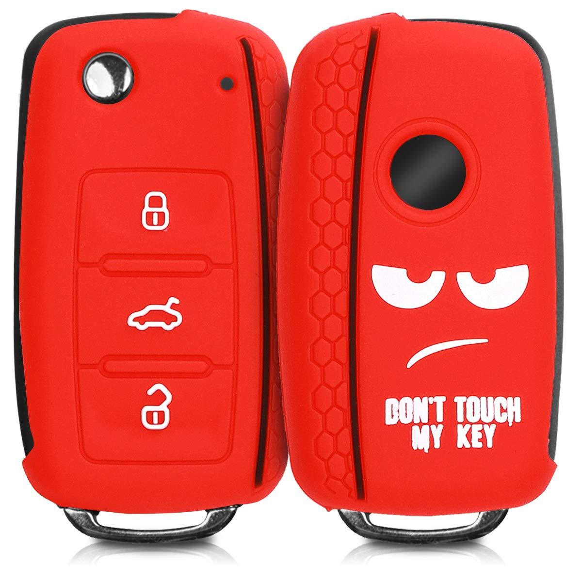 kwmobile Funda para Mando de VW Skoda Seat con dise/ño dise/ño Dont Touch my Key Carcasa para Llave del Coche Llave de 3 Botones para Coche VW Skoda Seat