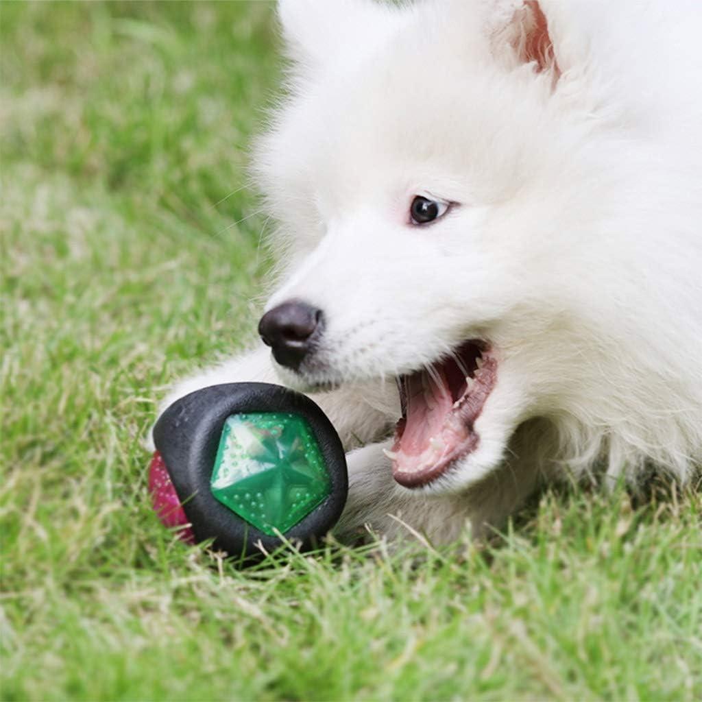 Training 音と光と夜光犬のおもちゃ耐久性に優れたスーパーボールラバー弾むBite-耐性犬咀嚼ボール犬の訓練ペットのおもちゃ