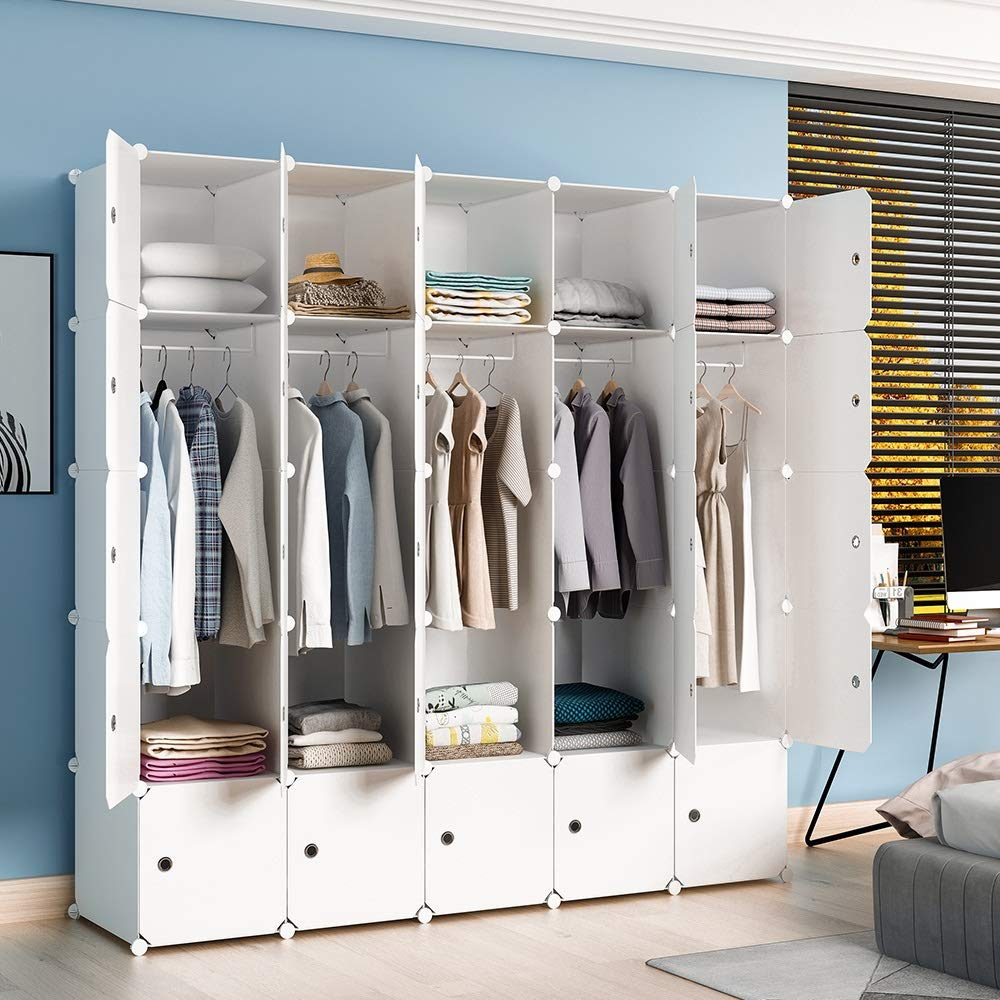 MAGINELS Wardrobe Armoire Closet Clothes Organizer Cube Storage Bedroom DresserChildren Hanging Rack Portable (White 25 Cubes) by MAGINELS
