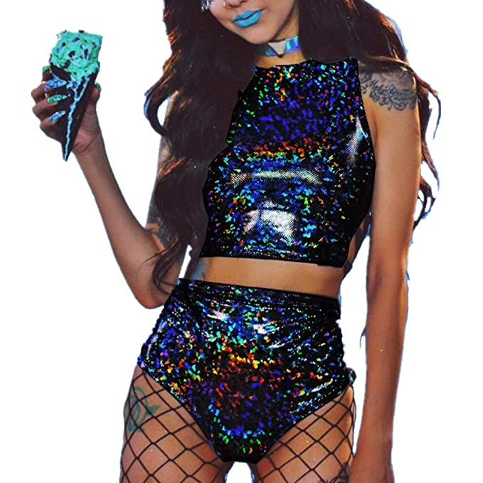 ab97d3c61686 Women's Rave Clothes Criss Cross Crop Top & Booty Metallic Silver Rave  Outfit