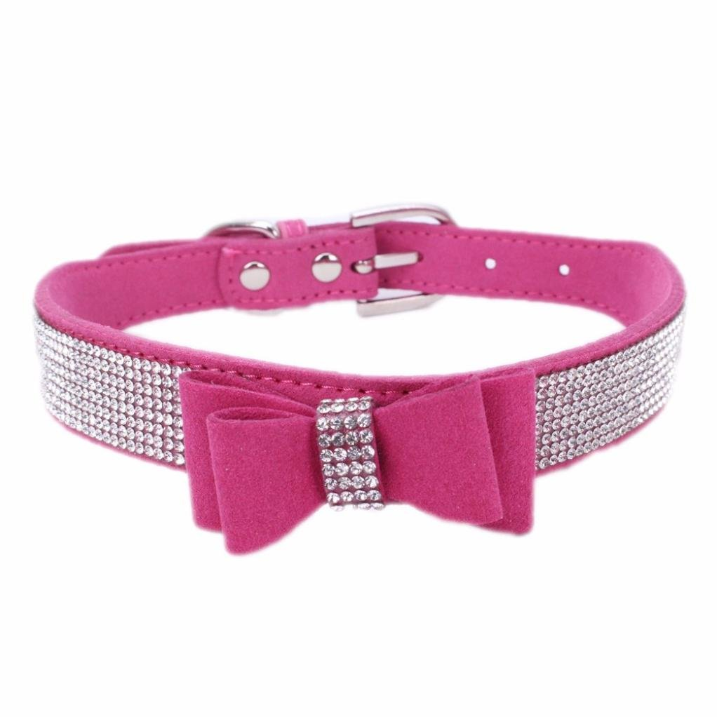 Hot Sale!!Puppy Pet Collars,Woaills Dog Exquisite Adjustable Bowknot Diamond Necklace (L, Hot Pink)