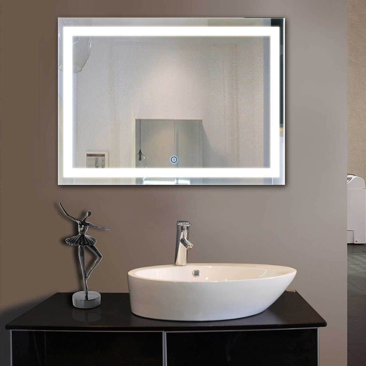 DECORAPORT 48 Inch * 36 Inch Horizontal LED Wall Mounted Lighted Vanity Bathroom Silvered Mirror with Touch Button (A-CK010-D)